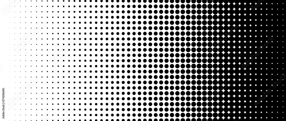 Fototapeta Halftone vector. Monochrome Abstract dot, Gradient halftone dots for background pattern and texture.