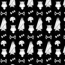 Halloween Pattern With Bat, Owl And Skull With Bones On A Black Background. Autumn Celebrations. Design For Fabric, Wrapping Paper, Scrapbooking, Poster, Postcard. Boo