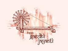 Illustration Of Spinning Wheel On India Background For 2nd October Gandhi Jayanti