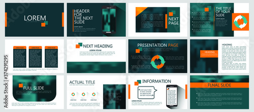 Modern powerpoint presentation templates set for business Fototapet