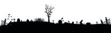 Black Silhouettes Of Tombstone...