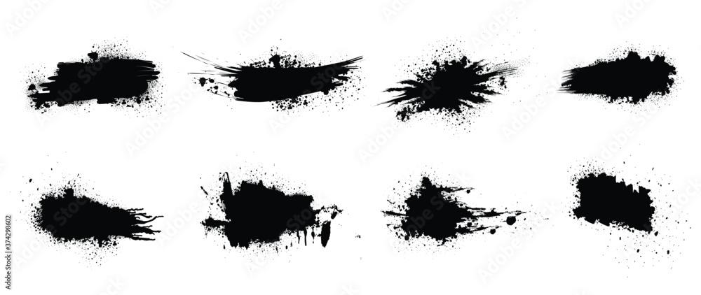 Fototapeta Black paint vector. Spray Paint Elements, ink brush strokes, Black splashes set, Black grunge with frame, Dirty artistic design elements,  boxes, lines, frames for text.