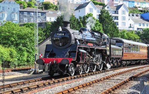 Obraz na plátne Standard Class 4 steam loco 75014 departing Kingswear, Devon, England