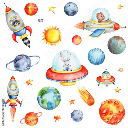 Big cosmic set with cartoon spaceships, planets, sun and stars; watercolor hand Wallpaper Mural