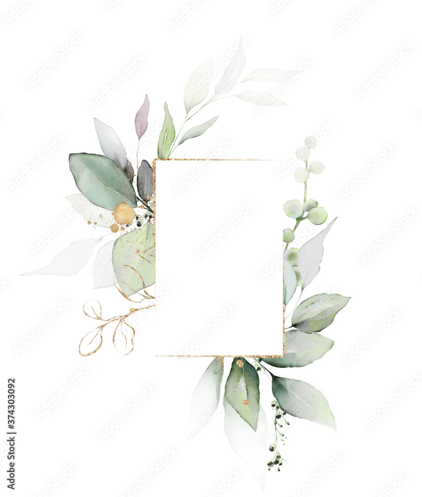 Fototapeta  Watercolor invitation Card design with leaves. background with floral elements , botanic watercolor illustration. Vintage Template. Herbal frame