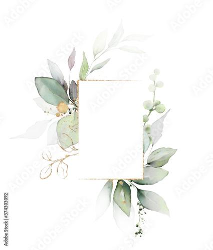 Fototapeta Watercolor invitation Card design with leaves
