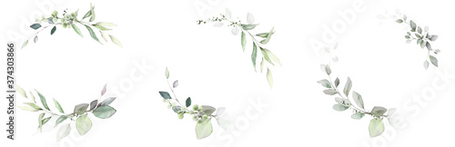 Foto Watercolor invitation Card design with leaves