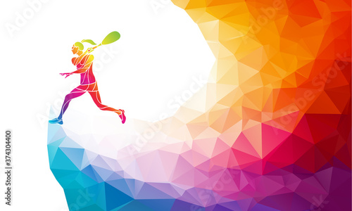 Fototapeta Creative silhouette of female squash player. Racquet sport vector illustration or banner template in trendy abstract colorful polygon style with rainbow back obraz