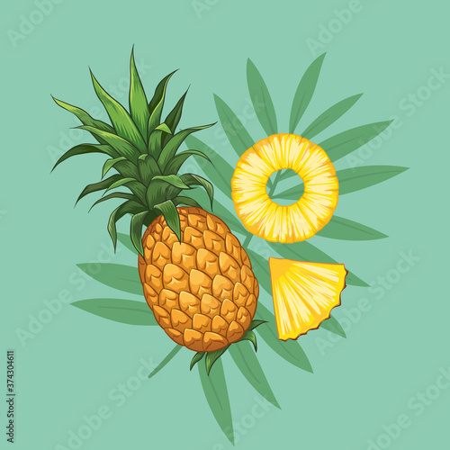 Fotografia, Obraz Whole pineapples with slices hand drawn design, tropical with palm branches on background