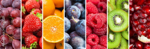 Leinwand Poster Fruits. Background of mixed ripe fruits and berries. Fresh food