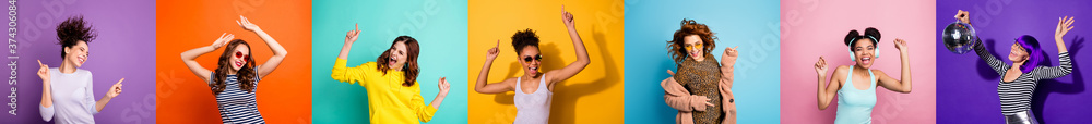 Fototapeta Collage photo seven cool funny active modern people different race ladies good mood discotheque festive clubbers isolated many colors violet teal yellow pink orange purple blue background
