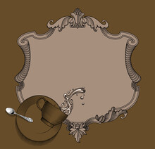 Old Decorative Frame And Falling Coffee Cup With Spilling Water, Saucer And Spoon. Cafe Menu Template. Vintage Color Engraving Stylized Drawing. Vector Illustration
