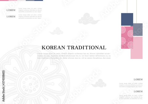 Fotografía Template with Korean tradition pattern background.
