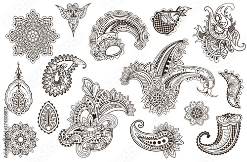 Photo Mehndi set of Henna flower hand drawn tatoo elements
