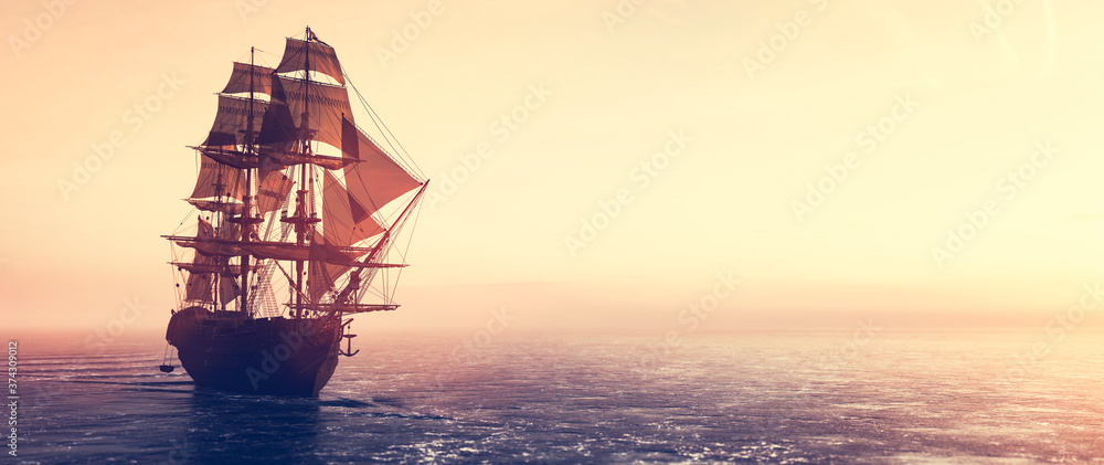 Fototapeta Pirate ship sailing on the ocean at sunset