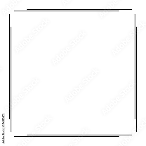 Black Geometric Frame Isolated on White - Geometrical Art Deco Style Template fo Canvas Print