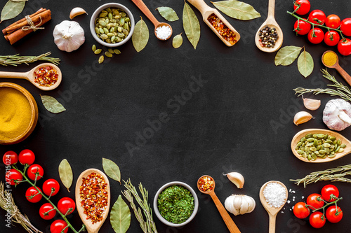 Spices and herbs frame - top view, copy space Wallpaper Mural