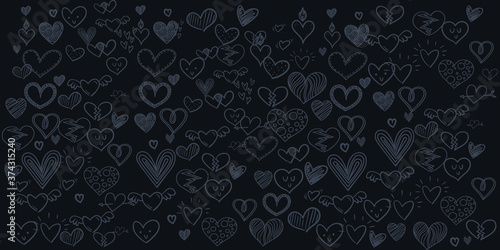 Foto Set of Hand draw Heart day Doodle backgrounds