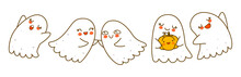 Cute Little Ghosts Isolated On White Background - Cartoon Characters Border For Funny Halloween Design