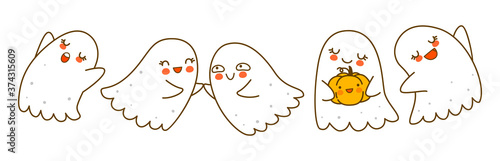 Photo Cute little ghosts isolated on white background - cartoon characters border for