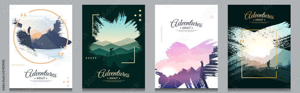 Fototapeta Vector brochure cards set. Travel concept of discovering, exploring and observing nature. Paint ink brush overlay. Flat design template of flyer, magazine, book cover, banner, invitation, poster.
