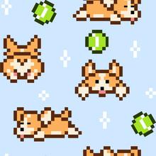 Corgi Dog With Balls Pixel Art Blue Background