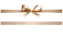 A Gold Ribbon And Bow Christmas, Birthday And Valentines Day Present Decoration Set Isolated Against A White Background