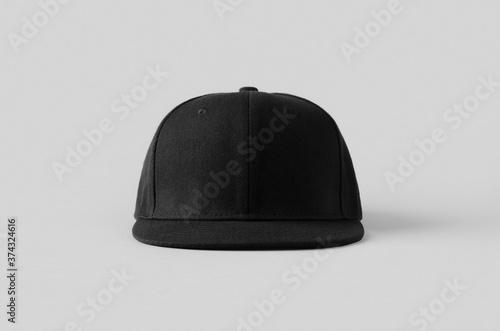 Obraz Black snapback cap mockup on a grey background, front view. - fototapety do salonu