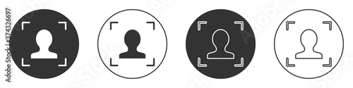 Black Face recognition icon isolated on white background Tapéta, Fotótapéta