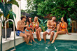 canvas print picture - Friends near swimming pool