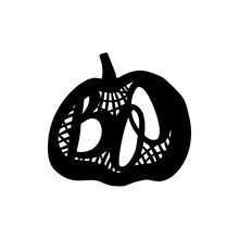 Laser Cutting Template Pumpkin For Halloween. Lettering Silhouette Pattern. Die Cut Vector. Cardmaking. EasyPrintPD