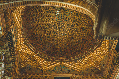 Papel de parede Golden dome ceiling of the Royal Alcazar Palace of Seville, Spain