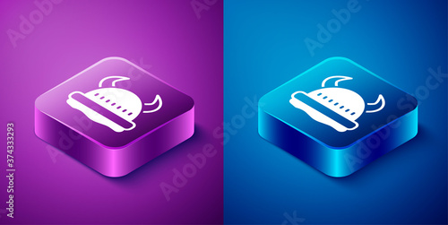 Isometric Viking in horned helmet icon isolated on blue and purple background Canvas Print