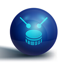 Blue Drum With Drum Sticks Icon Isolated On White Background. Music Sign. Musical Instrument Symbol. Blue Circle Button. Vector.