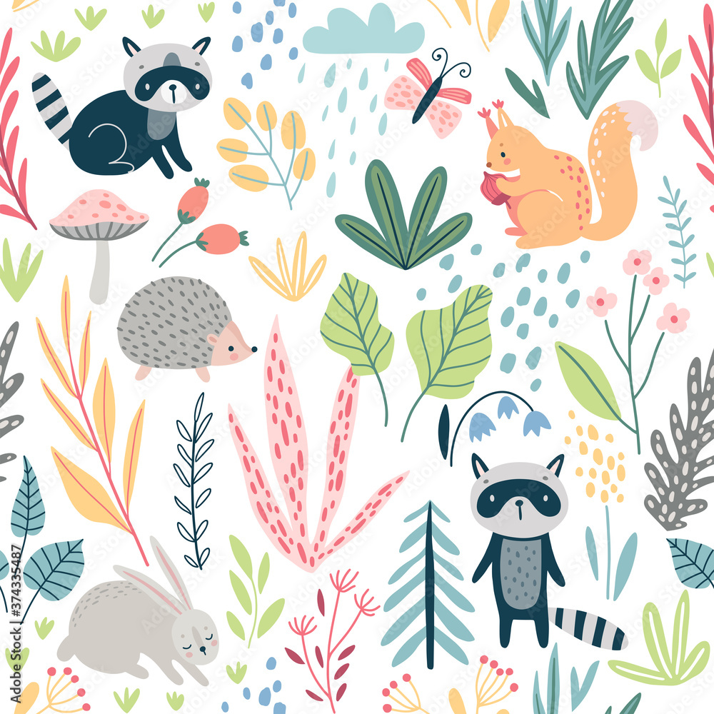 Fototapeta Seamless Forest pattern with wild animals, plants, trees and other elements. Cute hand drawn background.