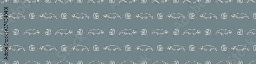 Cuadros en Lienzo Seamless background cute Mosasaurus dinosaur and fossil gender neutral baby border pattern