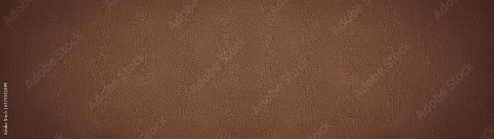 Fototapeta Brown dark rustic leather texture - Background banner panorama long