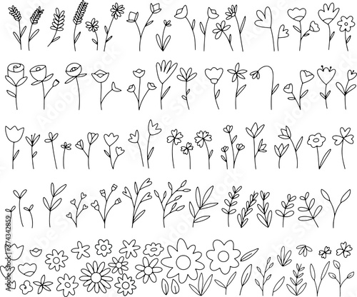 Hand drawn doodle flowers and leafs, plants cute Fotobehang