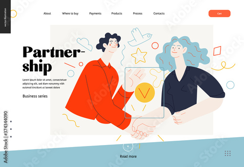 Foto Business topics -partnership, web template header