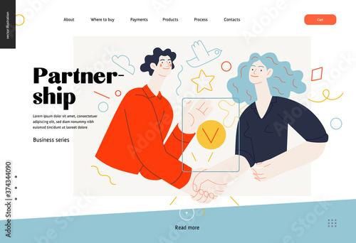 Business topics -partnership, web template header Fototapete