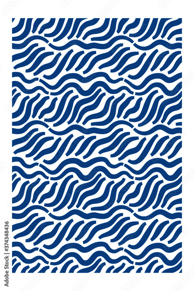 Fototapeta Horizontal seamless pattern of blue waves with blunt ends.