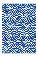 Horizontal seamless pattern of blue waves with blunt ends.