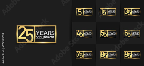 Fényképezés Anniversary logotype set with golden and silver color on black background