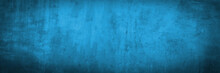 Blue Texture Of Old Gray Concrete Wall For Background, Grunge Background, Panorama