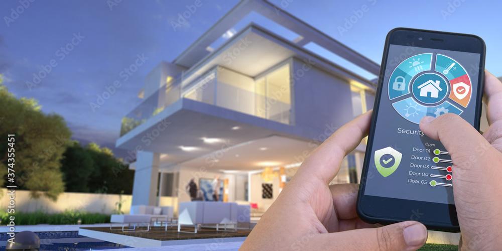 Fototapeta Luxurious modern smart house