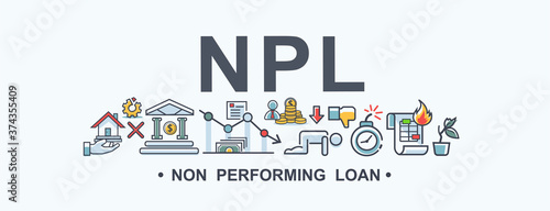 Photo NPL non performing loan banner web icon for financial and economic, loan, mortgage, bank, debt obligation, deflation, lower interest and cash out