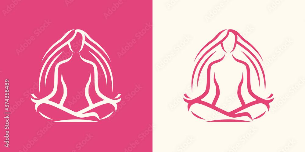Fototapeta Yoga logo. Girl sitting in lotus position, spa symbol
