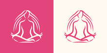 Yoga Logo. Girl Sitting In Lot...