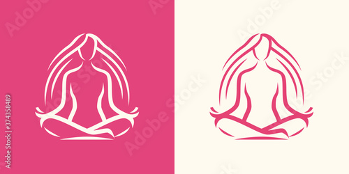 Yoga logo. Girl sitting in lotus position, spa symbol Canvas Print