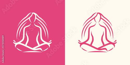 Fototapeta Yoga logo. Girl sitting in lotus position, spa symbol obraz